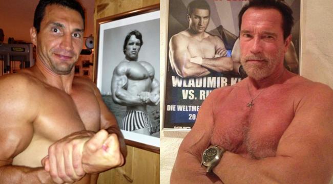 Arnold Schwarzenegger and Wladimir Klitschko Swap Twitter Pose Photos