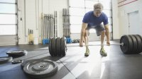 Deadlift barbell at gym