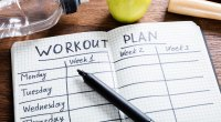 A workout plan notebook for your exercises to keep your fitness resolutions