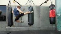 flying kick heavy bag