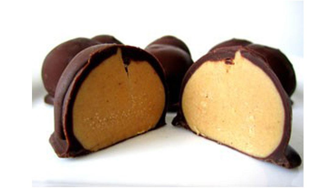 chocolate peanut butter ball split in half