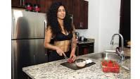 Massiel Arias in the kitchen