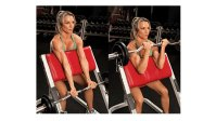 woman doing steps of preacher curl arm exercise