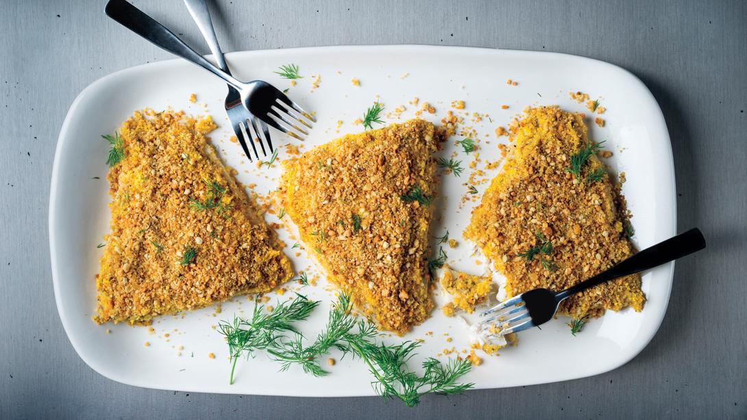 Hummus crusted fish