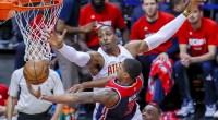 NBA player Dwight Howard blocking a shot