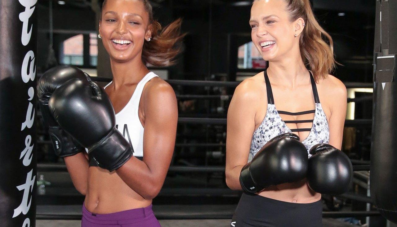 Victoria's Secret models Jasmine Tookes and Josephine Skriver learn how to 'Train Like an Angel'