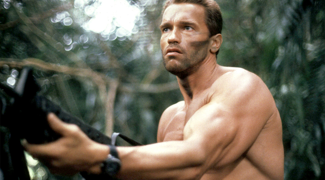 Movie star and actor Arnold Schwarzenegger acting in the Movie Predator