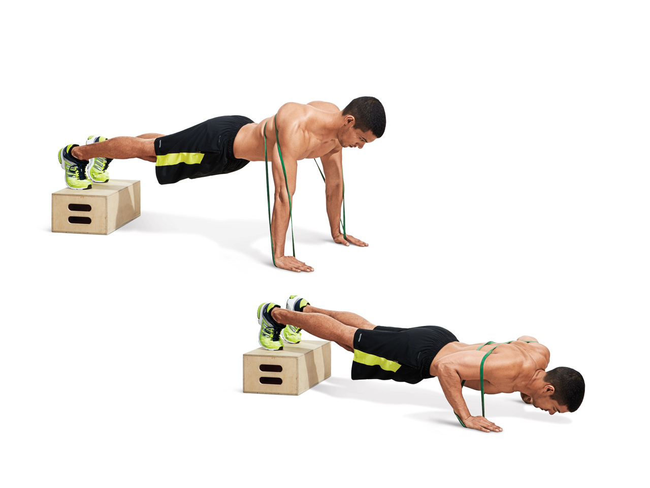 Band-Resisted Pushup W/ Feet Elevated | Muscle & Fitness