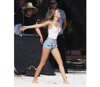 Models Taylor Hill and Josephine Skriver enjoy a beach photo shoot for Victoria's Secret