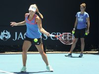 Tennis star Angelique Kerber hits the court in a public training session
