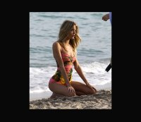 Martha Hunt smolders during a Miami swimsuit photo shoot