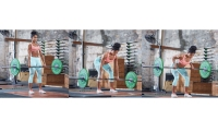Woman In A Gym Doing A Deadlift With Bentover Row