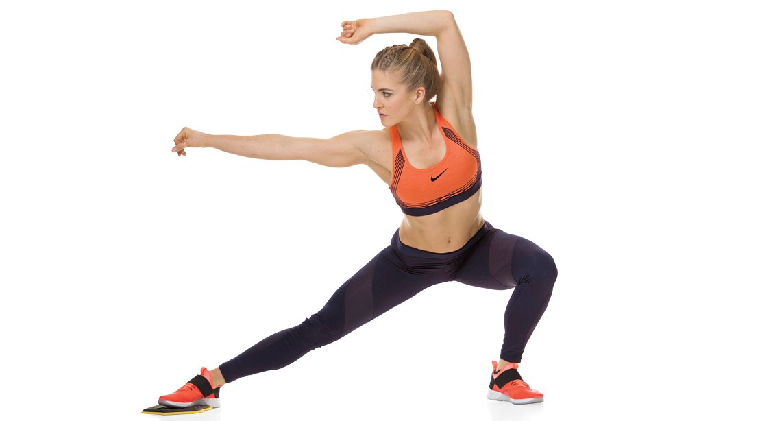 Woman Doing A Gliding Side Lunge