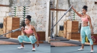Woman In A Gym Doing A Land Mine Front Squat To One-Arm Push Press