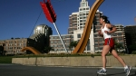 Woman Running Outside In San Francisco