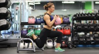 Woman In A Gym Doing A Bulgarian Split Squat