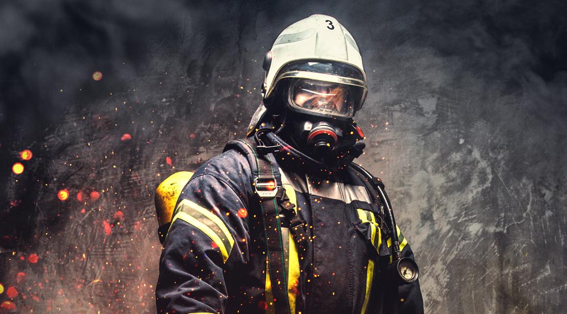Fireman Standing With Gear