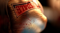 A blood stained glove is seen during Boxing at York Hall on October 10.