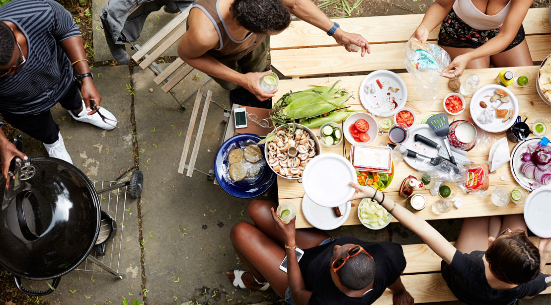 People Eating Barbecue