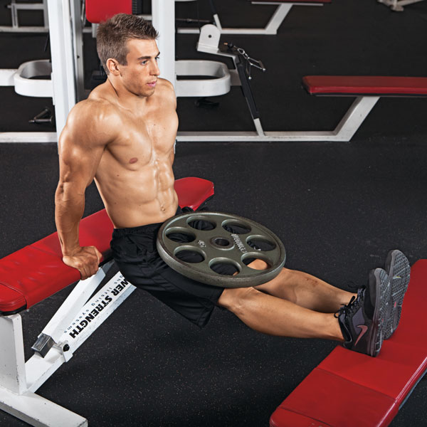 Weighted Bench Dip Exercise Video Guide | Muscle & Fitness