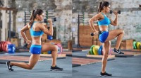 Reverse Lunge with Arm Drive Woman Exercise