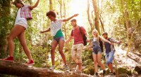 Group of friends crossing a river on a tree log in the forest while social distancing