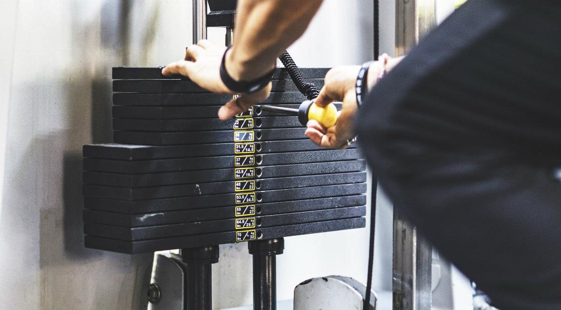 Stack of Weights o Machine at Gym