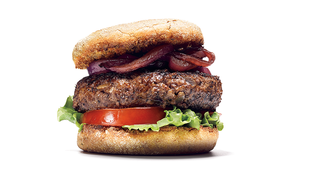 Ostrich Burger With Balsamic Caramelized Onions Muscle Fitness