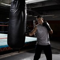 Boxer working on heavy bag