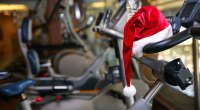A Santa Hat on a treadmill to burn off calories from the holiday foods