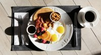 Breakfast plate with coffee