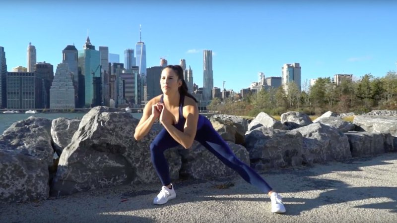 Brittany Smith demonstrates Do-Anywhere Bodyweight Program: Day 2 Legs