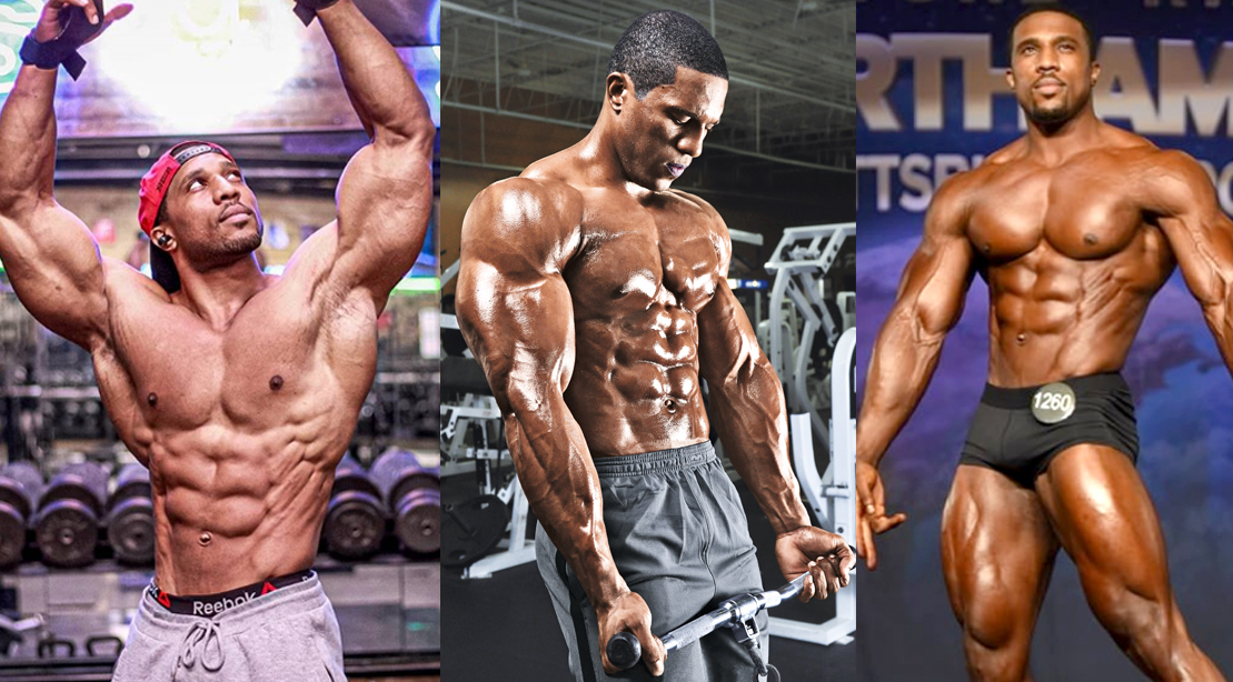 Physique bodybuilder Lawrence Ballanger posing and working out his muscular physique
