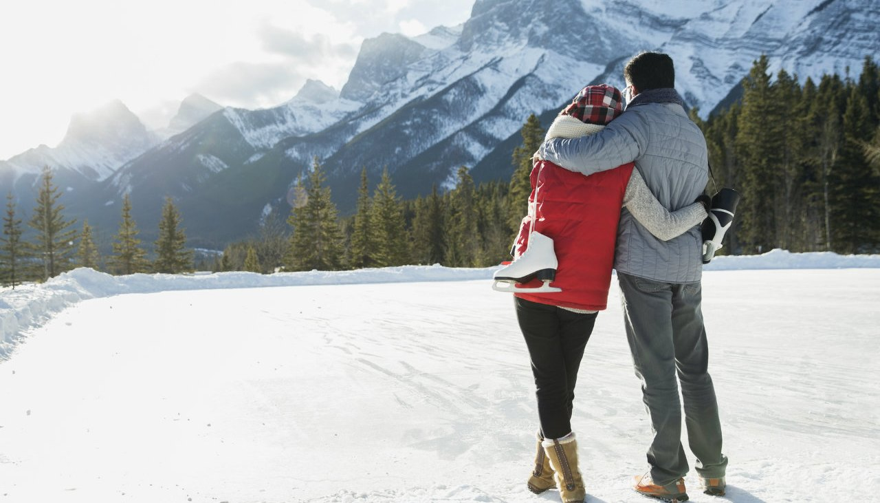 Couple enjoying a day in the snow