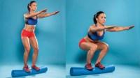 Foam roller squat exercise