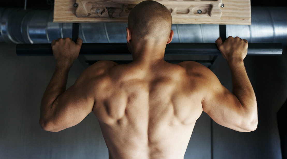 Man's back during pullup