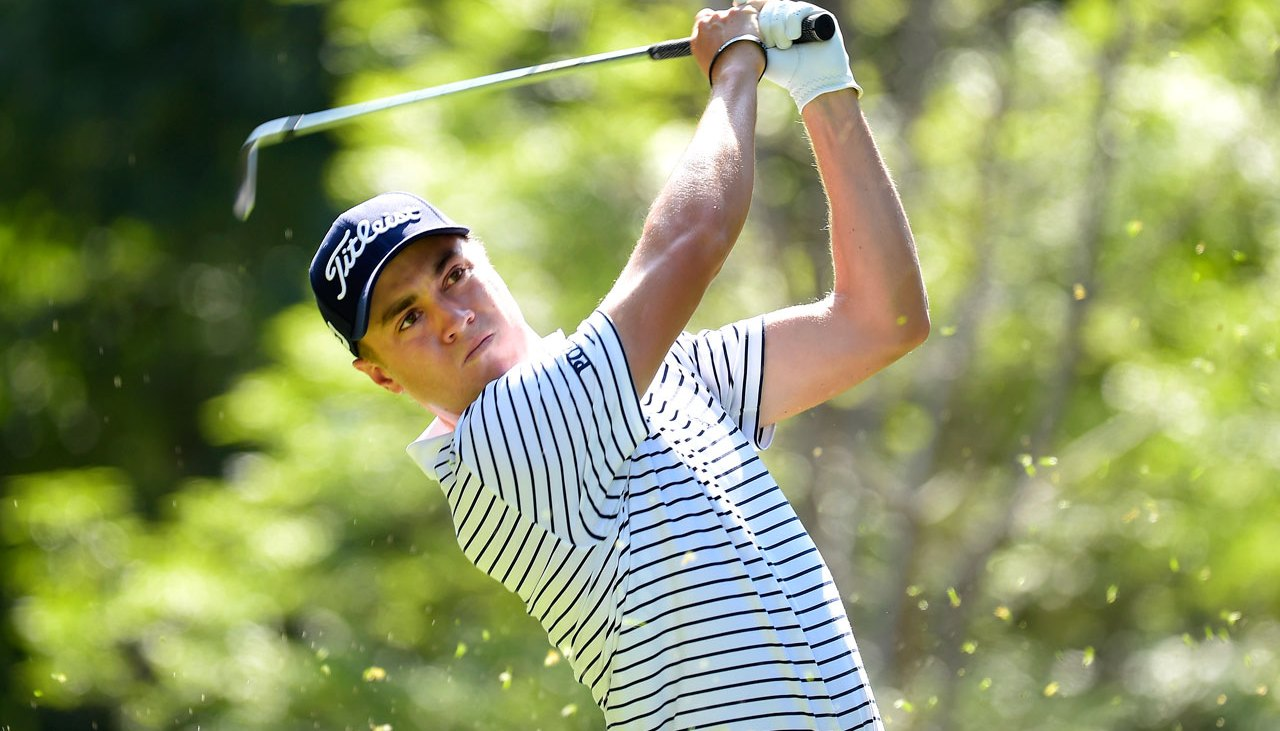 Justin Thomas of the United States plays a tee shot on the seventh hole during the second round of the World Golf Championships-Mexico Championship at Club de Golf Chapultepec on March 3, 2017 in Mexico City, Mexico.