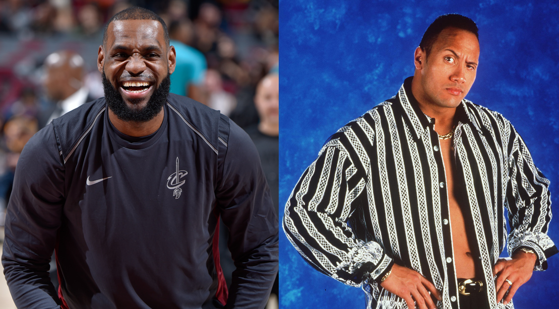 LeBron James Catches a 'Hot Tub Time Machine' Version of 'The Rock' Tailing Him