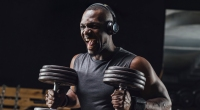 Athlete Training With Dumbbells In Gym, Screaming