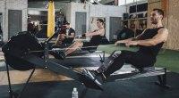 Cardio workout on rowing machine