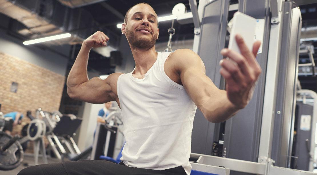 Man taking selfie at the gym