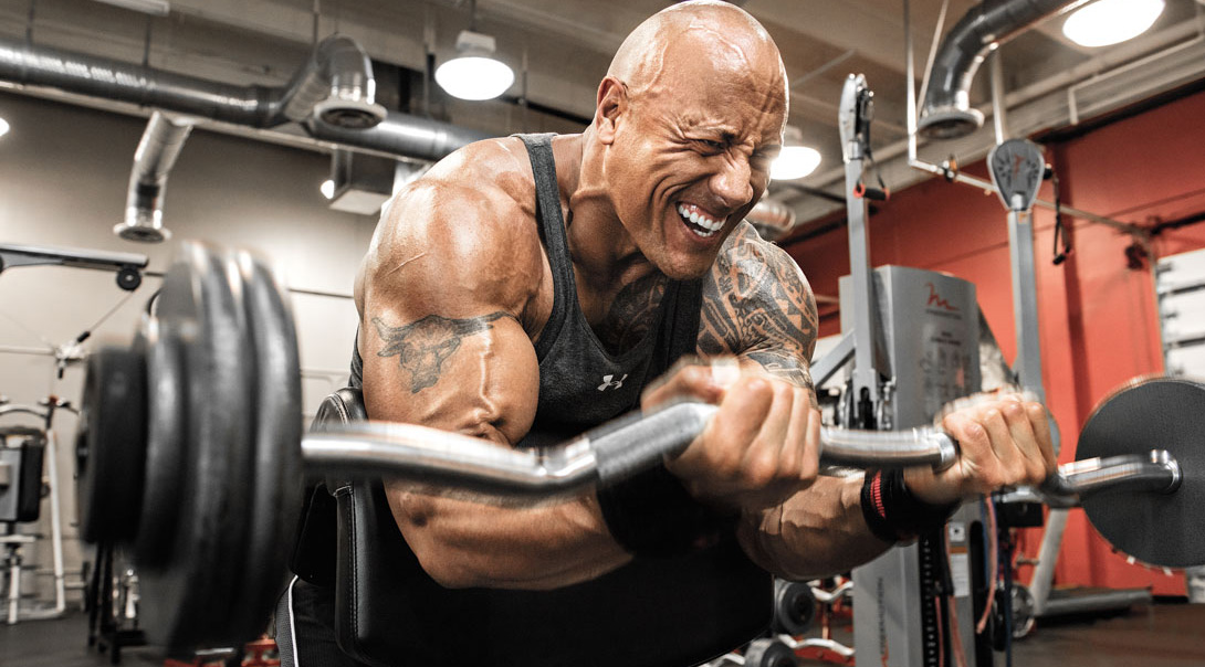 Train Like The Rock Dwayne Johnson S Arms Routine Muscle Fitness