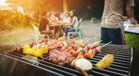 Family grilling healthy meats and vegetables on a barbecue grill