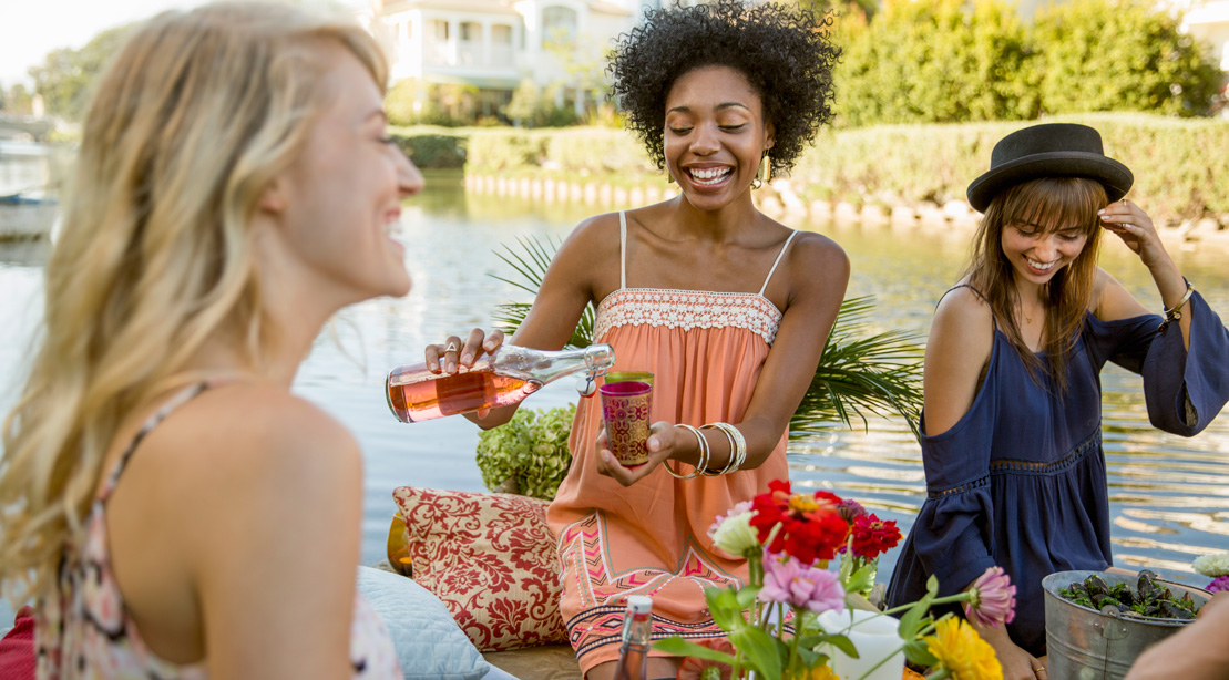 Women Drinking Wine at a Picnic