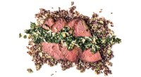 Recipe: How To Make Roasted Tri-Tip Steak With Herb Sauce and Scallion Quinoa