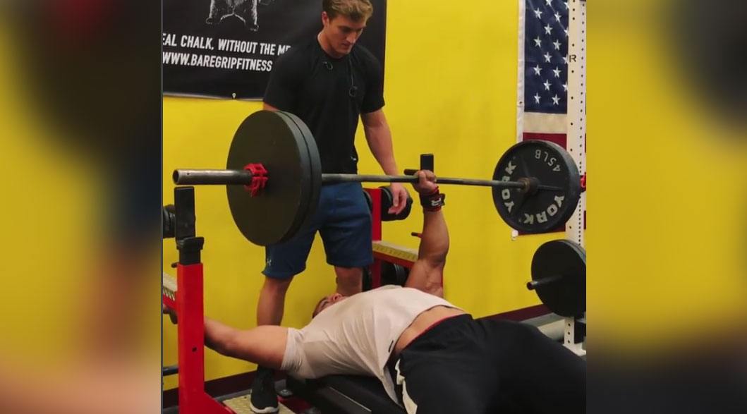 Here's Larry Wheels Benching 225 Pounds With One Arm