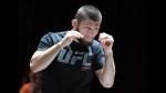 UFC lightweight champion Khabib Nurmagomedov attends an open workout for UFC 229.