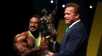 Roelly Winklaar and Arnold Schwarzenegger on stage at the 2017 Arnold Classic.