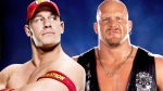"A picture of WWE Superstars John Cena and ""Stone Cold"" Steve Austin."