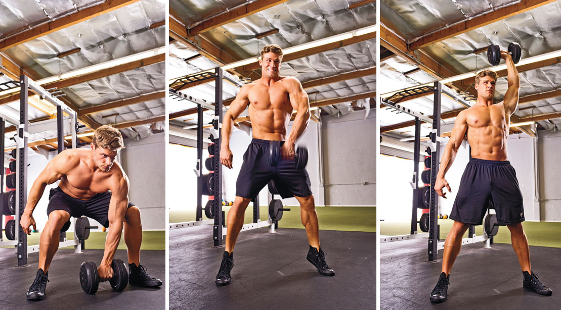 Man performing dumbbell snatch